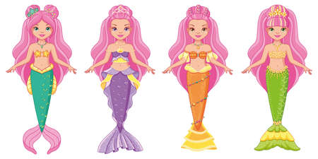 Cartoon set of mermaid dolls on white background