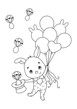 Easter bunny flies on balloons coloring page on white background