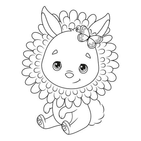 Cute Easter Bunny in dandelion coloring page Vectores