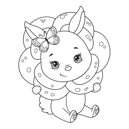 Cute Bunny in rose coloring page