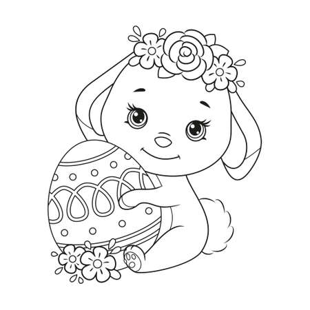 Cute Easter Bunny with egg Coloring Page