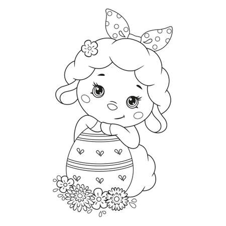 Cute Easter Sheep with egg Coloring Page Vectores