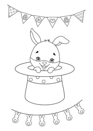 Cute Easter Bunny in Magic Hat Coloring Page