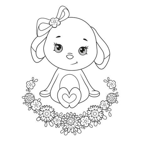 Cute Easter Bunny and flower frame coloring page on white background