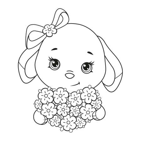Cute Easter Bunny with flower bouquet coloring page