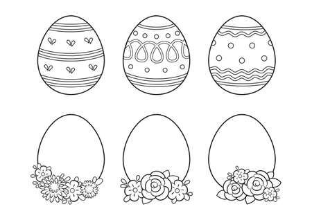 Happy easter eggs set coloring page on white background.