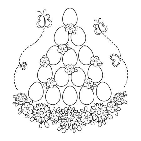 Easter Egg Decor Coloring Page on white background. Vectores