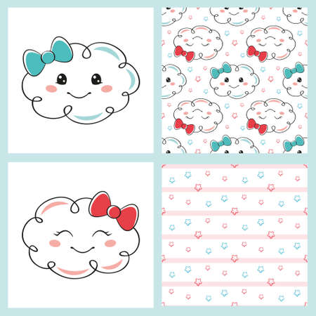 Set cute cartoon clouds and seamless patterns on a white background