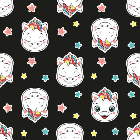 Cute baby unicorn head seamless pattern on a black background. Vector illustration.