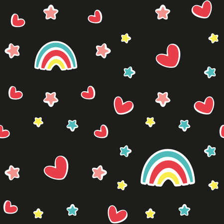 Cute baby seamless pattern with rainbow on a black background