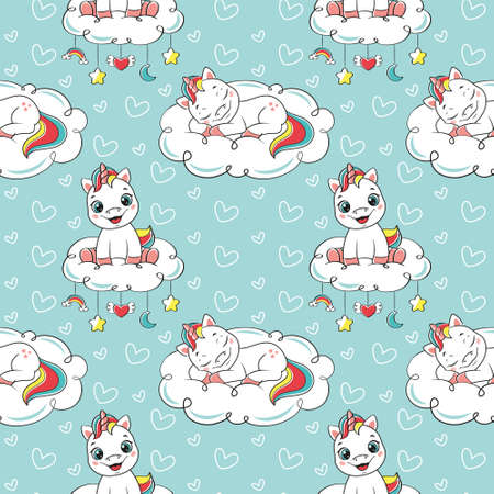 Baby seamless pattern. Seamless pattern with cute unicorns on blue background.