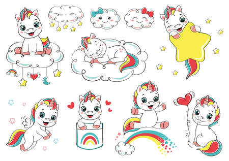 Cartoon set happy baby unicorn Vectores