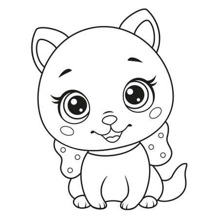 Little cute cat with bow coloring page Vectores