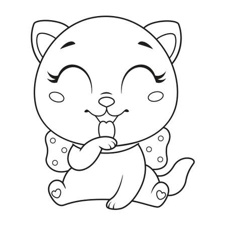 Cute little cat with bow licking paw coloring page