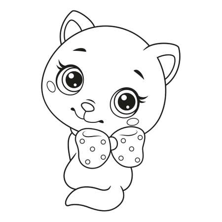 Little cat sitting and looking back coloring page Vectores