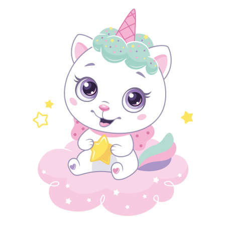 Cute cat unicorn with little star sitting on pink cloud. Vector catoon illustration for kids. Vectores