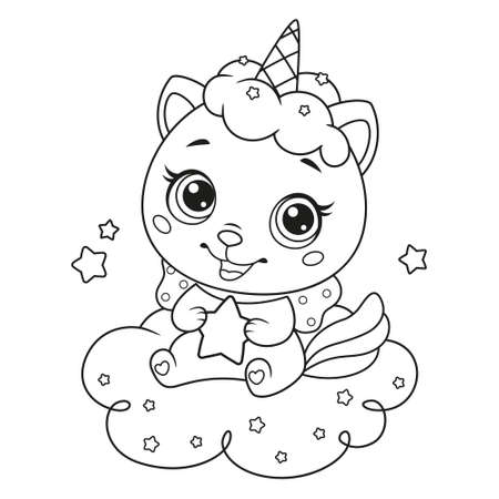 Cute cat unicorn with little star sitting on cloud. Coloring page for children