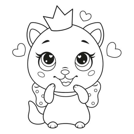 Happy cat princess with crown coloring page