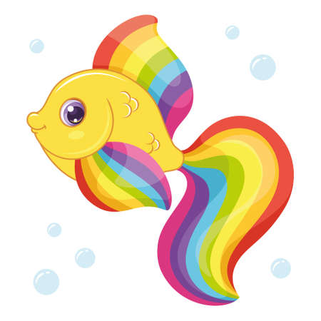 Cute rainbow fish isolated on white background, vector illustration of cartoon fish Vectores