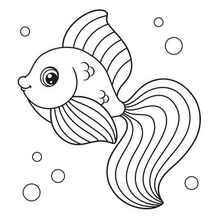 Cute cartoon fish coloring page, vector illustration Vectores