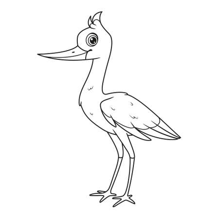 Character stork stands coloring page. Vector cartoon illustration