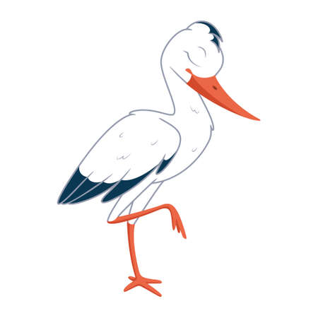 Cartoon stork sleeping on one leg. Vector illustration on white background Vectores