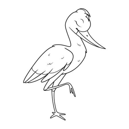 Cartoon stork sleeping on one leg coloring page
