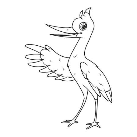 Talking stork presenting coloring page. Vector cartoon illustration