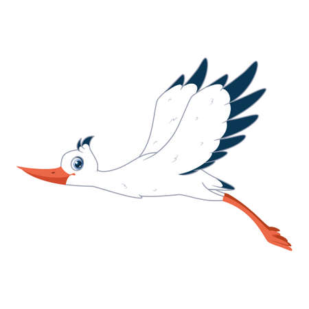 White Stork with wings raised flying on white background. Vector cartoon illustration Vectores