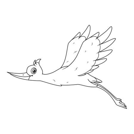 Stork with wings raised flying coloring page. Vector cartoon illustration