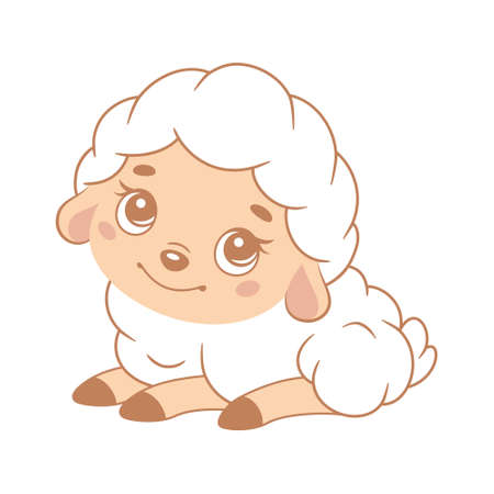 Cute white sheep on white background. Cartoon vector illustration