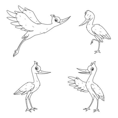 Cartoon set of storks in different poses black and white outlines Vectores