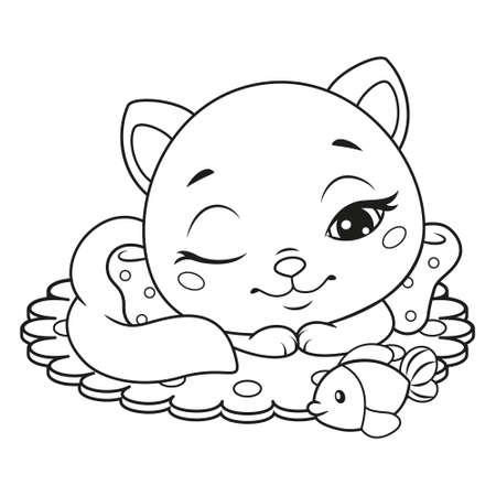 Little cat sleeping with toy fish coloring pagefor kids. Black and white outline illustration