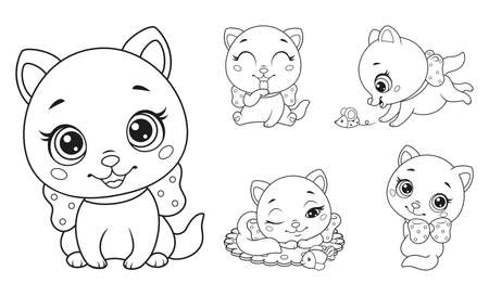 Little cats set coloring page for kids. Black and white outline vector illustration