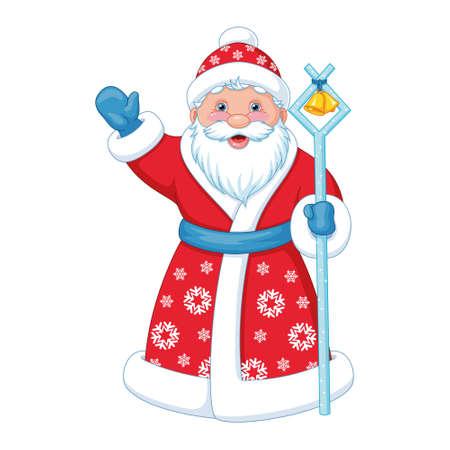 Russian Santa Claus in long red coat