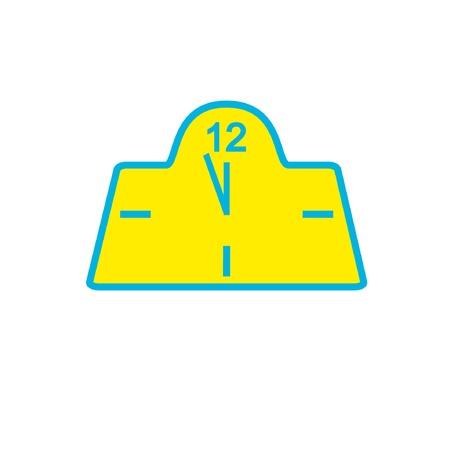 Despertador com uma cara amarela e setas azuis