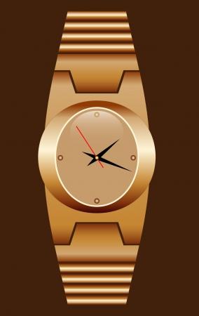 Assista ouro realista com uma pulseira