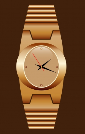 Watch gold realistic with a bracelet  Vector