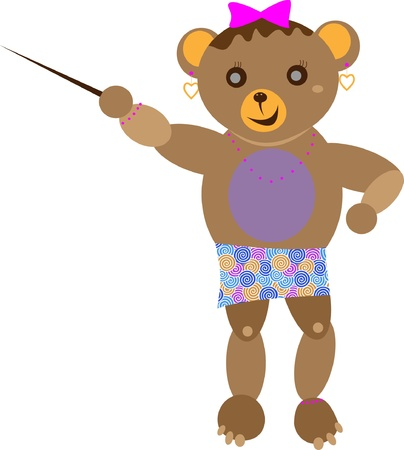 Little bear, little girl  Brown with a smile  Illustration