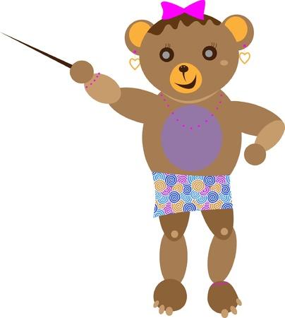 Pouco urso, menina Brown com um sorriso