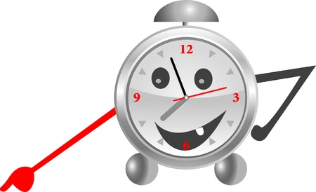 Alarm clock silver with a smile  Illustration