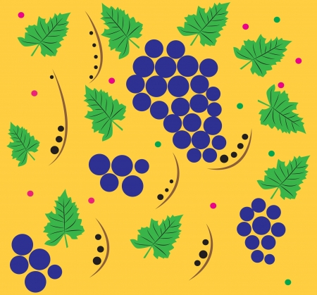 The pattern of grapes on a gold background