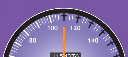 Speedometer car shows speeding