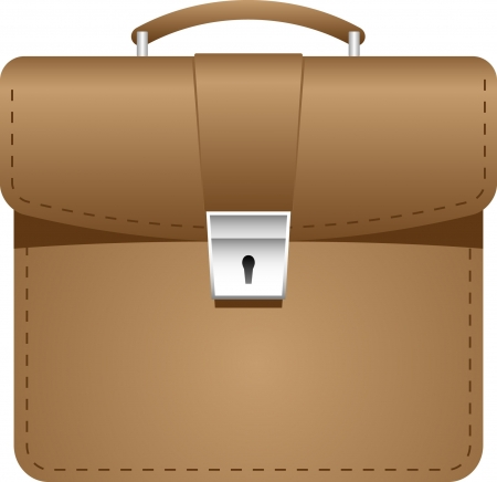The business briefcase  Brown with a brilliant castle  Illustration