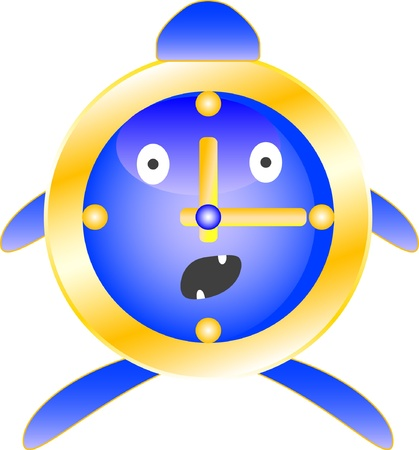 Alarm clock blue with surprise on his face  The fear in his eyes