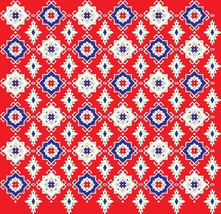 tessellated: The pattern for a carpet on a red background