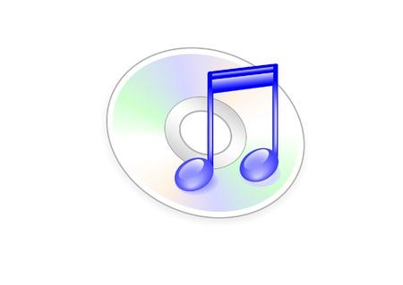 Ícone da música ThThe na forma de notas no fundo do ícone da música e disco Ilustração