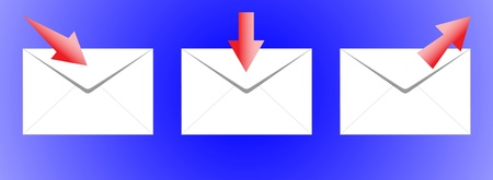 Icon of the three envelopes with the arrows  Illustration
