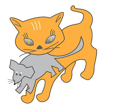 Red cat keeps the mouse in the teeth  Vector