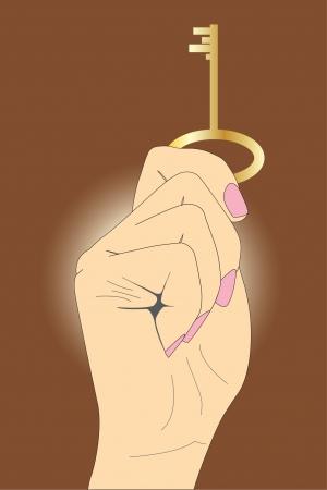 그의 손에 행복의 황금 열쇠 일러스트